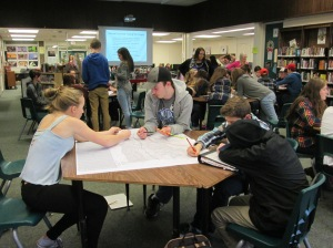 Aldershot High School students working on a group activity