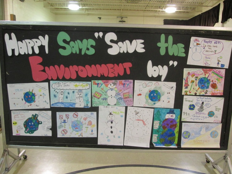 "Happy says ""Save the Environment"""