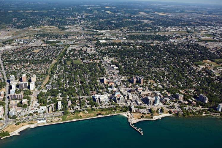 Aerial photo of Burlington's urban canopy