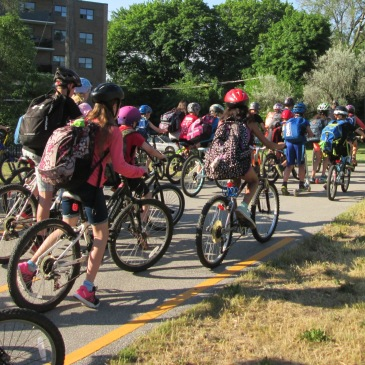 Lakeshore P.S. students ride to school.