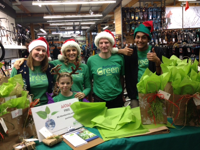 BurlingtonGreen volunteers provided green wrapping services at MEC Burlington in December 2015.