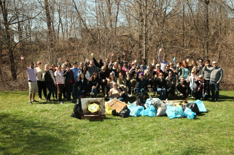 Staff at Edge Imaging showing their commitment to the environment with an Earth Day clean-up event