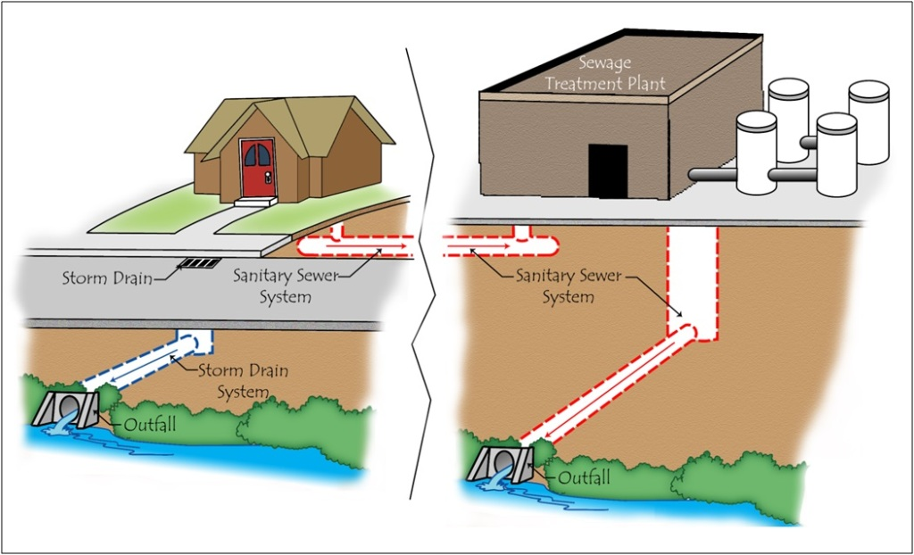 Storm drain versus sanitary sewer systems