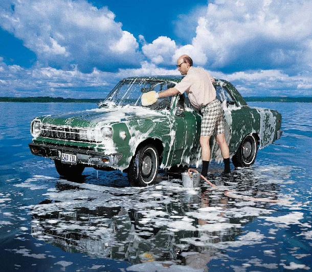 Washing car poster