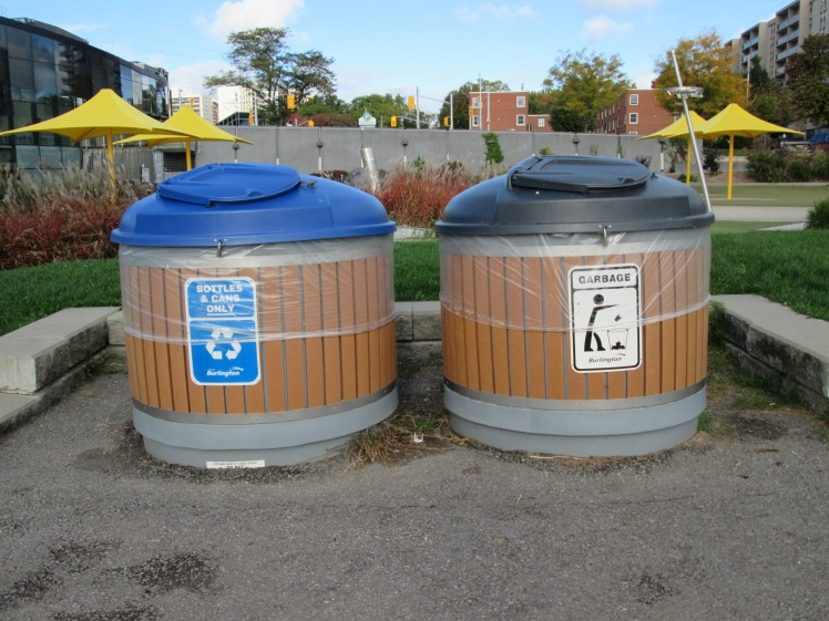 Outdoor large capacity bins in city parks