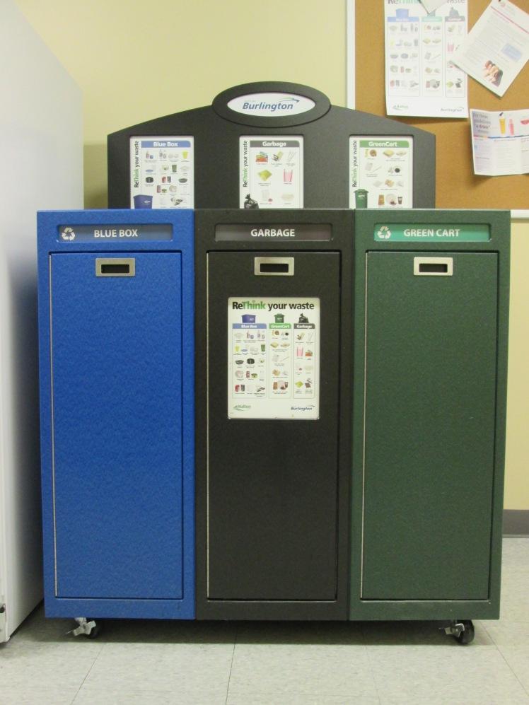 Indoor three stream recycling at city facilities.