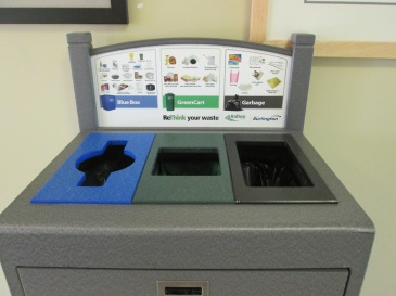 Indoor three stream waste container at city facilities.