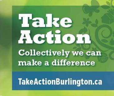 Take Action Burlington motto and weblink