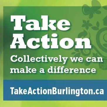 Take Action Burlington motto and weblink