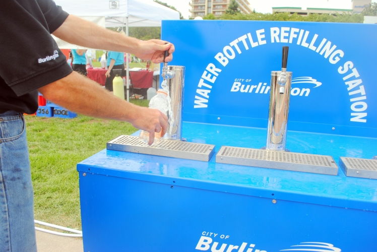 Water bottle refilling station