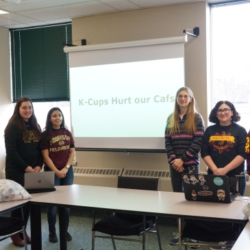 MM Robinson students make K-Cup Presentation at Halton District School Board office