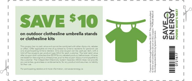 Coupon for outdoor clothesline umbrella stand or clothesline kits until Sept. 30, 2017.