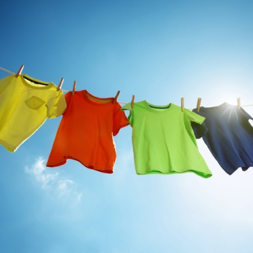 Hanging laundry on a clothesline