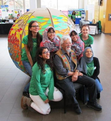 David Suzuki with BurlingtonGreen youth volunteers.