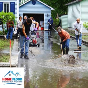 Cleaning up after a flood.