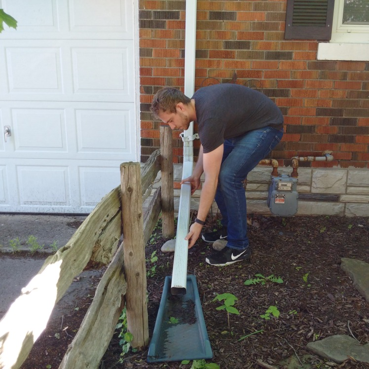 Extending a downspout.