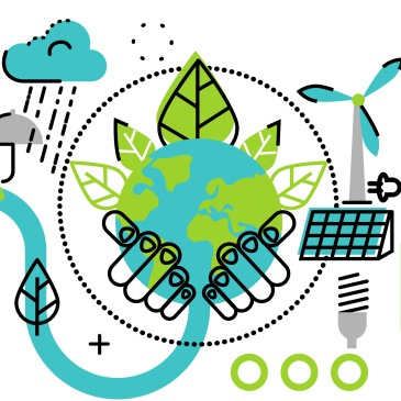 Graphic with energy related icons including lightbulb, solar panels, wind energy, EV, bike, etc.