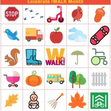 Bingo game encouraging kids to walk or roll to school