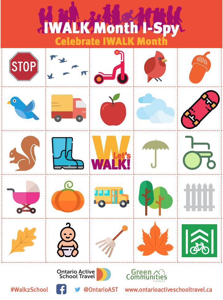 Bingo game encouraging kids to walk or roll to school