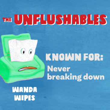 Never flush wipes image.