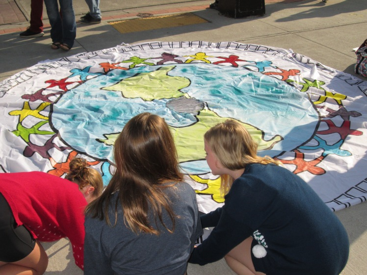 Students making pledge to protect environment during climate change student protest
