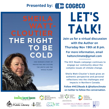 Promotional information for event with Sheila Watt-Cloutier