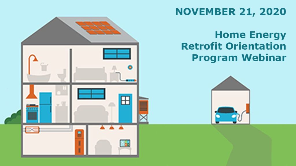 Image of home showing rooms and garage with EV charging to promote HERO program webinar