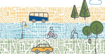 Modes of transportation - bus car bike walk