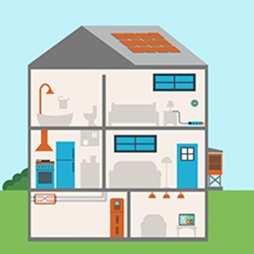 Image of a home without outside walls showing potential home energy retrofits