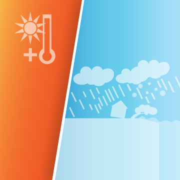 Image showing warmer, wetter and wilder icons